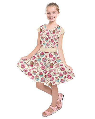 PattyCandy Girls Pink Candy Cupcake Donut Style Kids' Short Sleeve Dress - 14