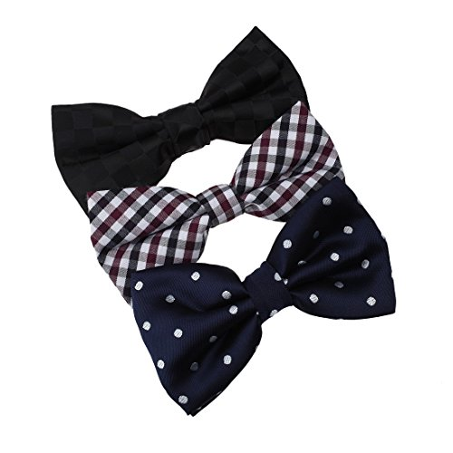 DBE0145 Italy Internet Microfiber Christmas Day Pre-Tied Bow Tie 3 Pack Bow Tie Set By Dan Smith