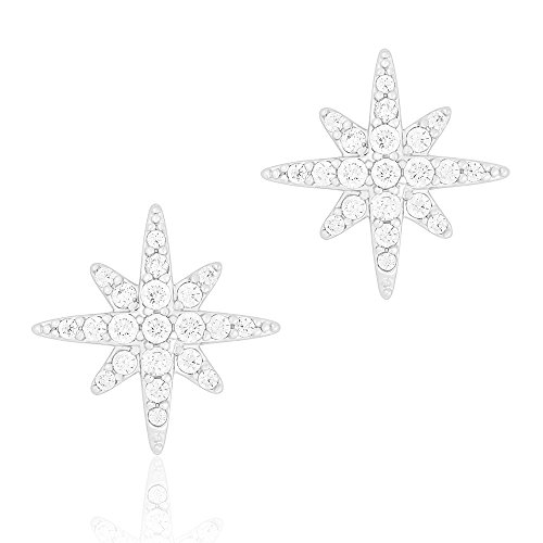 ORROUS & CO Womens 18K White Gold Plated Cubic Zirconia Compass Rose Stud Earrings