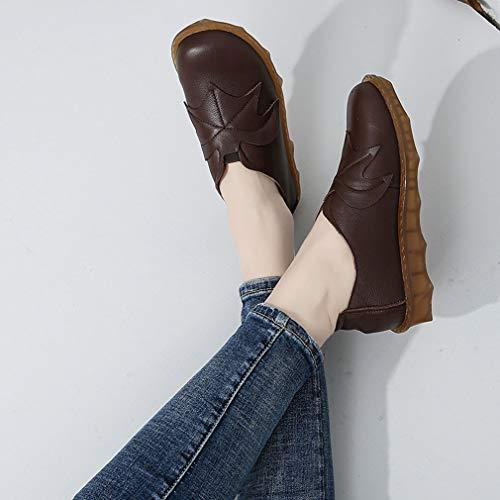 Oxford Mujer Cordones Sin Y Zapatos Negro Para Maternity Mother Antideslizantes Marrón 36 Mocasines Cuero Yan Bottom brown De Soft q6gEwC