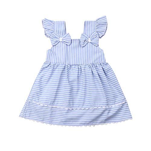 Newborn Baby Girls Casual Dress Ruffle Sleeveless Halter White Stripe Lace Summer Dresses (Blue, 80(6-12 M)) ()