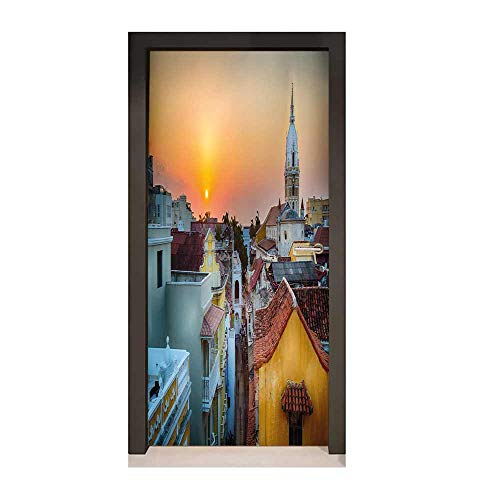 Sunset 3D Door Decal View Over The Rooftops of The Old City Cartagena Cathedral Colombian Coast Picture for Home Decoration Multicolor,W17.1xH78.7