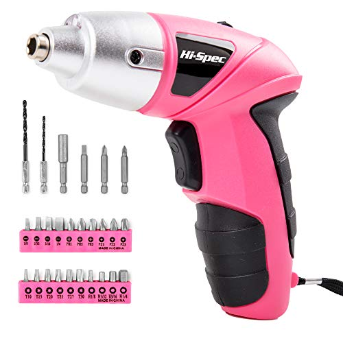 Hi-Spec Pink 4.8V Electric Cordless Screwdriver with 600 mAh Ni-MH Battery...