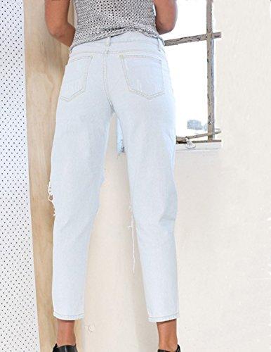 Para Agujero Zarco Rectos Mujer Vaquero Vaqueros Dril Rasgado Cintura Alta Tejanos Pantalones wCqgx