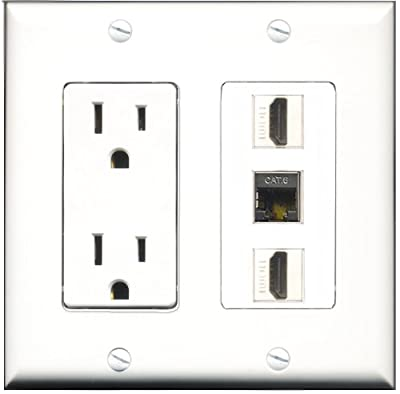 RiteAV - 15 Amp Power Outlet 2 Port HDMI 1 Port Shielded Cat6 Decorative Wall Plate