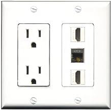 RiteAV - 15 Amp Power Outlet 2 Port HDMI 1 Port Shielded Cat6 Ethernet Ethernet Decora Wall Plate