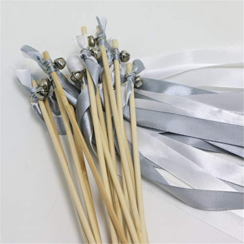 Hoxekle 100pcs White Silver Wedding Ribbon Lace Fairy Stick Sparklers Fairy Magic Wands with Bells Wedding Ribbon Wands Party Decor