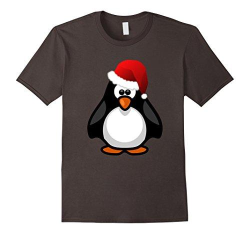 in Shirt - Cute Penguin in Santa Hat T-Shirt Small Asphalt (Penguin Santa)