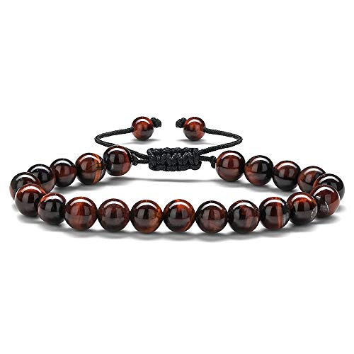 Anxiety Bracelet for Men Red Bead - 8mm Tiger Eye Stone Beads Bracelet Adjustable Natural Matte Agate Onyx Yoga Essential Oils Anxiety Aromatherapy Bracelets Jewelry Birthday Gifts for -