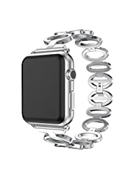 Apple Watch 1/2 38mm Replacement,ABC® Stainless Steel Bracelet Smart Watch Band Strap with Tools (Silver)