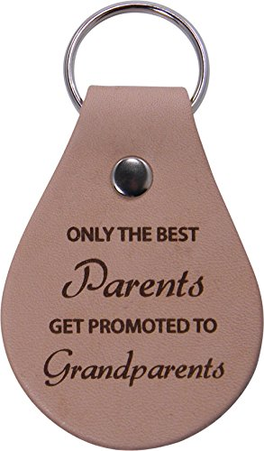 Only The Best Parents Get Promoted To Grandparents Leather Key Chain - Great Christmas, Father's Day, Mother's Day Gift For Parents