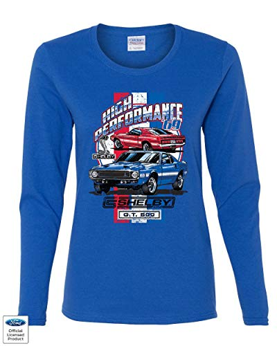 High Performance 1969 Shelby GT500 Women's Long Sleeve Tee Ford Mustang Cobra Royal Blue M