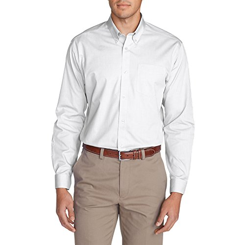 Eddie Bauer Men's Wrinkle-Free Classic FIt Pinpoint Oxford Shirt - Solid, White Button Down Pinpoint Oxford Shirt