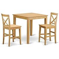 East West Furniture PUBS3-OAK-W 3-Piece Counter Height Table, Oak Finish