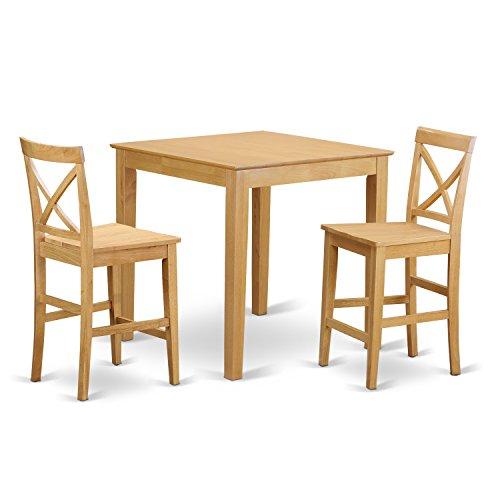 3 Piece Oak Bar Stool (East West Furniture PUBS3-OAK-W 3-Piece Counter Height Table, Oak Finish)