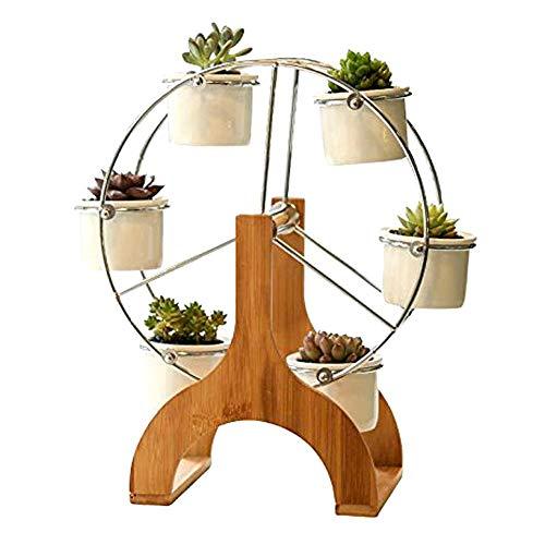 Creative Ferris Wheel Flower Design Pot Bamboo Stand 6 Succulent Plant Pot Holder Garden Decor Planter(Plant stand27)