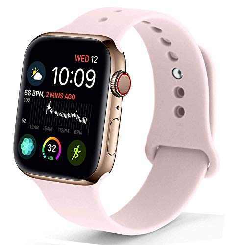NUKELOLO Sport Band Compatible with Apple Watch 38MM 40MM,Soft Silicone Replacement Strap Compatible for Apple Watch Series 4/3/2/1 [M/L Size in Pink Sand Color]