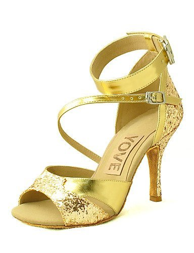 ShangYi Customizable Women's Dance Shoes Latin/Salsa Leatherette Customized Heel Black/Silver/Gold Silver ENYUKxy