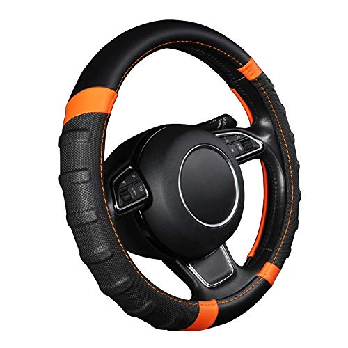 (AUTOYOUTH car Steering Wheel Cover, Anti-slip Microfiber Leather Universal Fit for Car, SUV, Truck Heavy Duty, Anti-Slip, Excellent Grip Standard Size 15 inch, Orange/Black)
