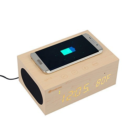 Eachine Multi-Function Stereo Bluetooth Wood Speaker Wireless Charger with Built in Mic,Clock, Thermometer, NFC and LED Time Display for Smartphones, Laptop/Desktop PC and Tablets