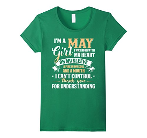 Womens I'm A May Girl T-Shirt Special Gift For Birthday Shirt Large Kelly (Born Green T-shirt)