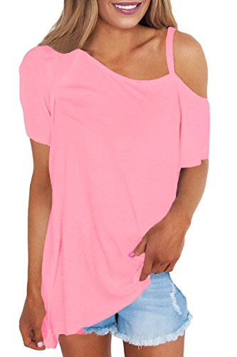 Women 's Casual Loose Hombro Frio Uno Hombro T Shirt Blusas Tops Pink