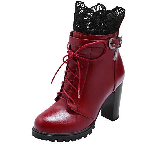Aiyoumei Kvinna Spets Tjock Klack Toffeln Tillbaka Dragkedja Spänne Höst Vinter Boots Röd