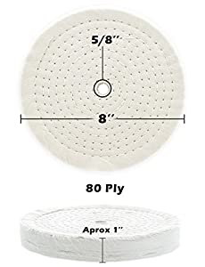 "Drixet Rigid 8 Inch Extra Thick Cotton Treated Spiral Sewn Buffing/Polishing Wheel with a 5/8"" Center Arbor Hole, (80 Ply)"