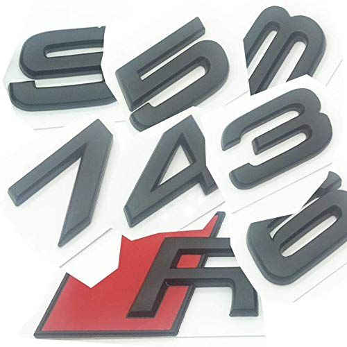 OEM ABS Nameplate compatible for Audi RS 3 4 5 6 7 8 Rs3 RS4 Rs5 Rs6 Rs7 Rs8 Matte Black Emblem 3D Trunk Logo Badge Compact (RS6)