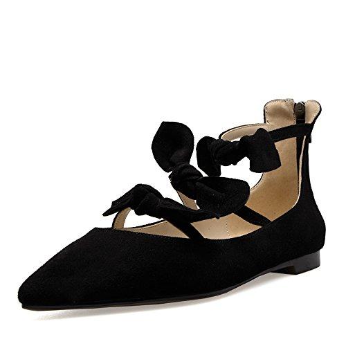 Nine Seven Cuero Moda Puntiagudos Bailarinas Planos Cómodos con Lazo y Cremallera para Mujer negro