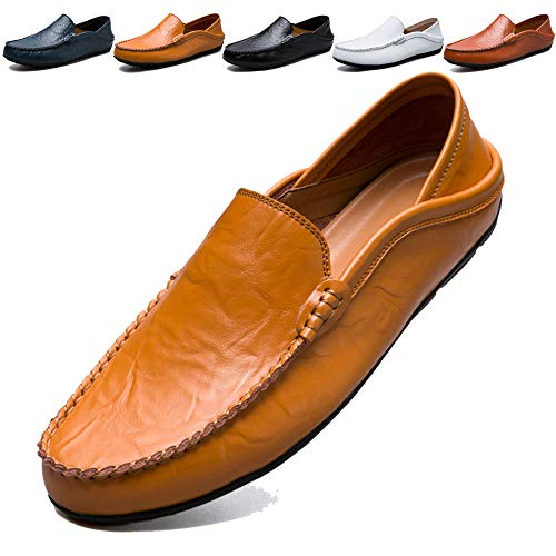 (MCICI Mens Loafers Moccasin Driving Shoes Premium Genuine Leather Casual Slip On Flats Fashion Slipper Breathable Big Size,Yellow,US8)