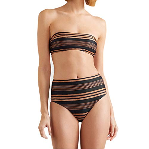 44c3c51dd7336 HHei_K Women Swimsuit, Ladies Summer Fashion Tube Tops Twist Front Thong Strapless  Bathing Suit Swimwear