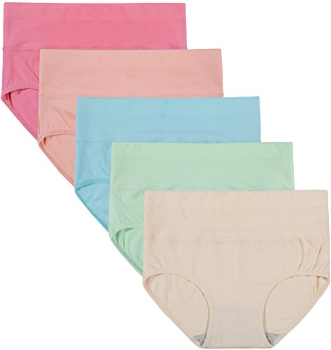 422e8c6dd21 Innersy Women s 5 Pack High Waist Tummy Control Solid Color Cotton Briefs  Panties