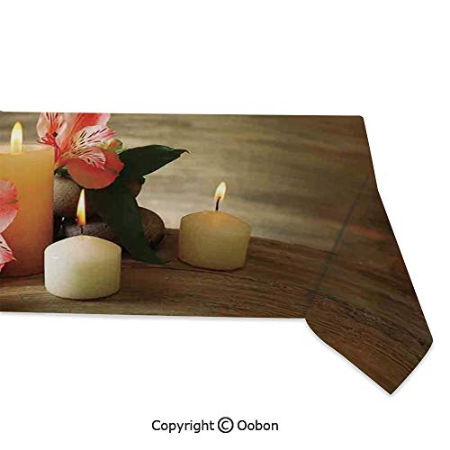 oobon Space Decorations Tablecloth, Spa Composition with Many Candles Wellbeing Unity and Neutrality Icons Calm Happiness Home Decor, Rectangular Table Cover for Dining Room Kitchen, W60xL104 inch ()