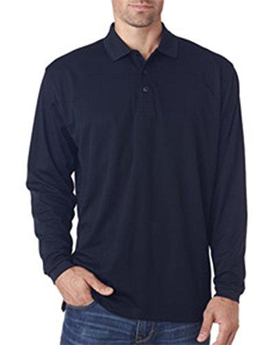 UltraClub Men's Cool & Dry Long-Sleeve Mesh Polo Shirt, NAVY, XXX-Large
