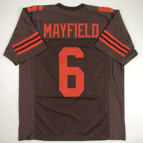 (Unsigned Baker Mayfield Cleveland Color Rush Custom Stitched Football Jersey Size Men's XL New No Brands/Logos)