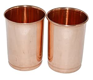 Set 2, Pure Copper Glasses Set Tumblers Ayurvedic Water Drinking Glasses, Capacity 350 Ml