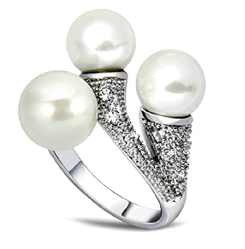 Daesar Gold Plated Rings for Womens Engagement Rings Cultured Pearl Rings CZ 7