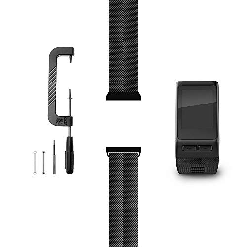 C2D JOY Compatible with Garmin Vivoactive HR Replacement Bands Accessory (Pins and Pin Removal Tool) Metal Weave Strap for Daily Wear Accessories Watchband - 1601, M/6.1-8.1 in.