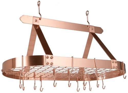 Old Dutch Oval Steel Pot Rack w. Grid & 16 Hooks, Satin Copper, 36'' x 19'' x 15.5'' by Old Dutch