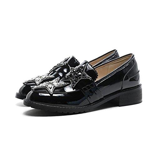 alto YWNC Singolo black 2018 scarpe da in nero scarpe ruvido tacco tacco Primavera vera pelle pentagramma donna donne 34 nuove con strass r6RrnqB0