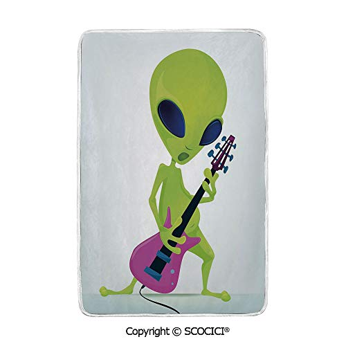 SCOCICI Ultra Comfortable,Cozy and Warm Carpet Blanket Cartoon Alien Character Playing Electric Guitar Music Monster Decorative No Colour Fading Rug One Side Printed