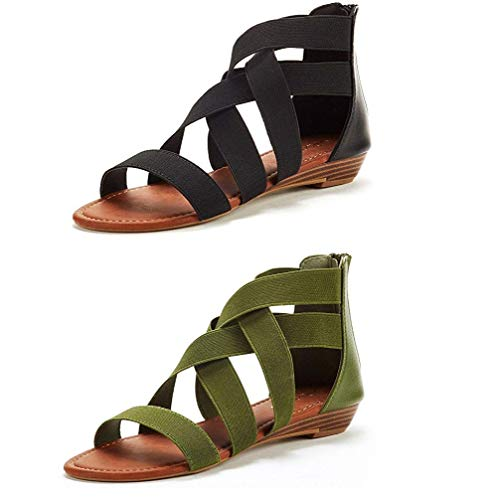 DREAM PAIRS Women's ELASTICA8 Black and Army Green (2 Pairs) Elastic Ankle Strap Low Wedges Sandals Size 10 M US