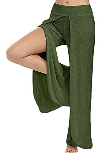 La Mujer Casual Talle Elástico Pierna Ancha Solida Raja Yoga Deportes Pantalones De Longitud Completa Navygreen