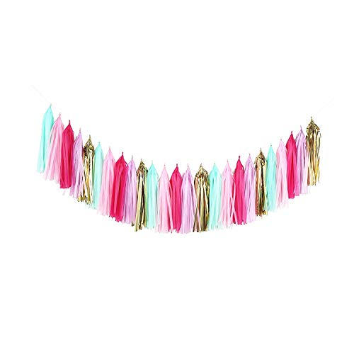 Fonder Mols Unicorn Tassel Garland DIY Kit (Pack of 25pcs, Mint Gold Lavender Fuchsia Pink) for Unicorn Birthday Backdrop, Baby Shower, Photo Props, Nursery, Pastel Party Decorations A15