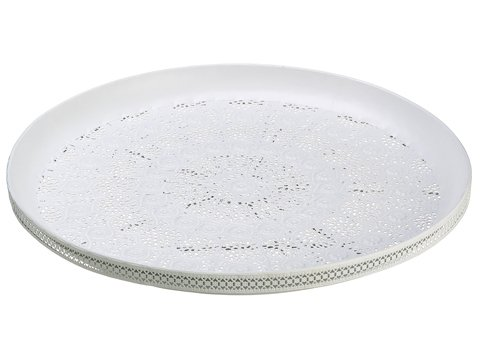 """1.5""""Hx18.9""""D Laced Tin Plate Antique White (Pack of 4)"""