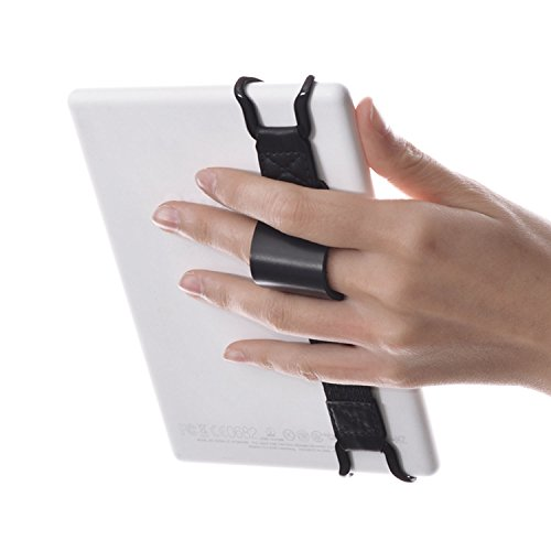 WANPOOL Universal Non-Slip Hand Strap Holder Support with Adjustable Leather Belt Stand, for use with 6 Inch Kindle E…