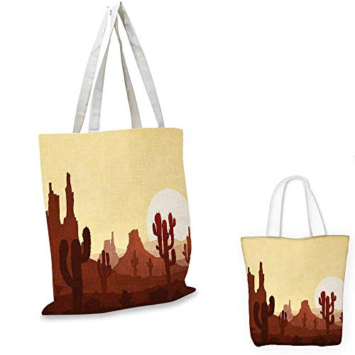 Cactus shopping bag storage pouch Arid Country Landscape with Sunset in Stone Desert Saguaro and Mountains small tote shopping bag Yellow Brown Redwood. 15