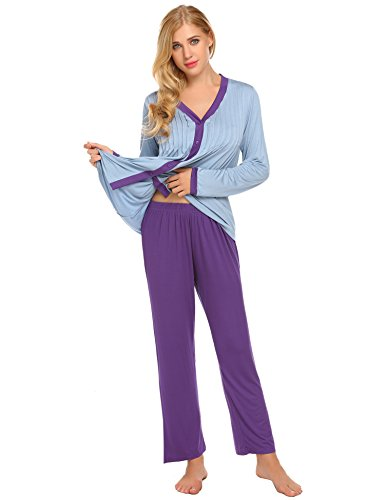 Ekouaer-Women-Cozy-Pajama-Set-Long-Sleeve-Casual-Button-Down-Pjs-Winter-Sleepwear