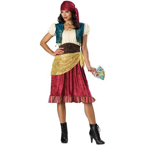 InCharacter Costumes, LLC Women's Gypsy Costume, Red/Gold/Brown, Large